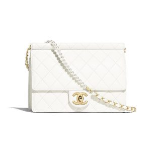Chanel White Medium Chic Pearls Flap Bag