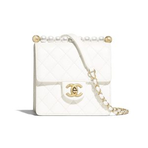 Chanel White Small Chic Pearls Flap Bag