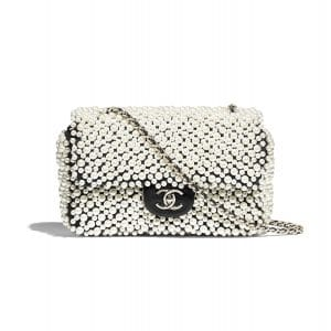 Chanel White/Black Imitation Pearls/Lambskin Mini Flap Bag