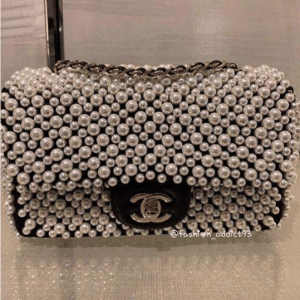 Chanel White/Black Imitation Pearls:Lambskin Mini Flap Bag