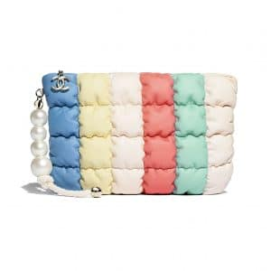 Chanel Yellow:Green & Blue Lambskin:Imitation Pearls Clutch Bag