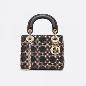 Dior Black Embroidered Mini Lady Dior Bag