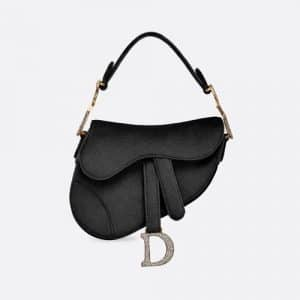 Dior Black Velvet Mini Saddle Bag