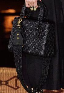 Dior Black Woven Lady Dior Bag