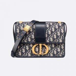 Dior Blue Oblique Canvas 30 Montaigne Flap Bag
