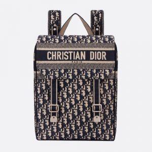 Dior Blue Oblique Canvas Backpack Bag