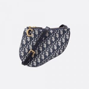 Dior Blue Oblique Canvas Saddle Clutch Bag