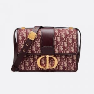 Dior Burgundy Oblique Canvas 30 Montaigne Flap Bag