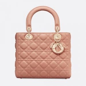 Dior Pale Pink Lambskin Lady Dior Bag