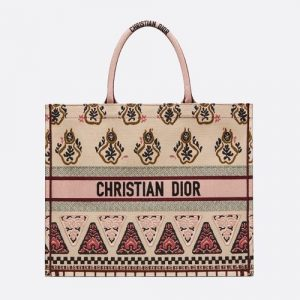 Dior Pink Geometric Embroidered Book Tote Bag