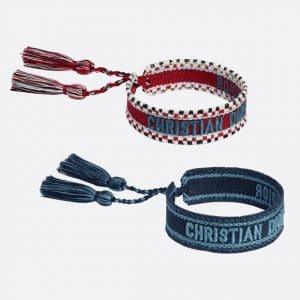 Dior Red and Blue J'adior Woven Bracelets