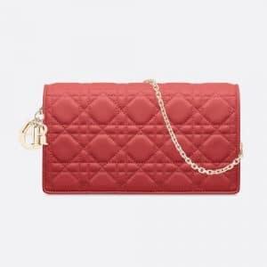 Dior Sienna Lambskin Lady Dior Clutch Bag