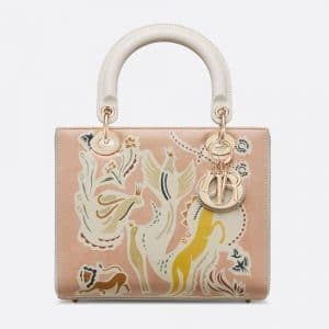 Dior Smooth Pink Fairy Tale Printed Lady Dior Bag