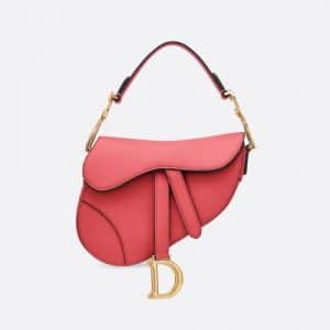Dior Strawberry Pink Calfskin Mini Saddle Bag