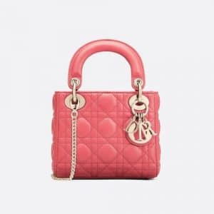 Dior Strawberry Pink Mini Lady Dior Bag
