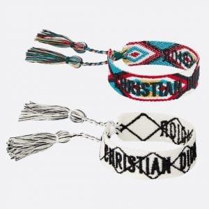 Dior White and Multicolor J'adior Woven Bracelets