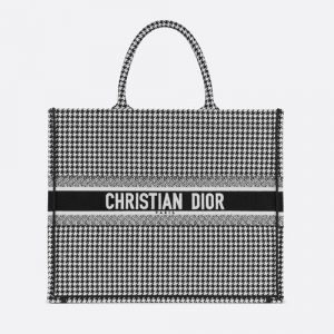 Dior White/Black Houndstooth Embroidered Book Tote Bag