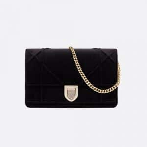 Diorama Black Velvet Diorama Clutch Bag