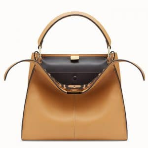 Fendi Beige Calfskin:Sheepskin Peekaboo X-Lite Regular Bag