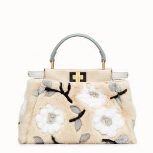 Fendi Beige Floral Mink Peekaboo Mini Bag