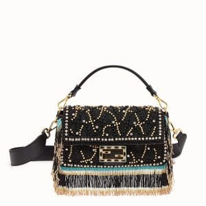 Fendi Black Beaded Jacquard Fabric Baguette Bag