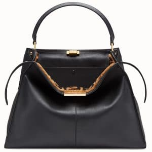 Fendi Black Calfskin:Sheepskin Peekaboo X-Lite Bag