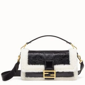 Fendi Black/White Lambskin:Sheepskin Baguette Bag