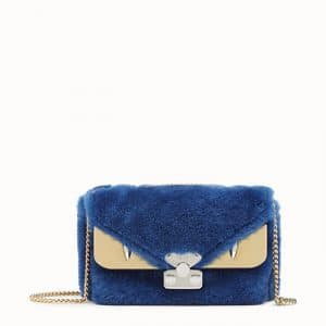 Fendi Blue Sheepskin Bag Bugs Mini Bag
