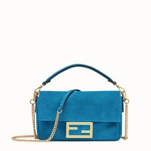Fendi Blue Suede Mini Baguette Bag
