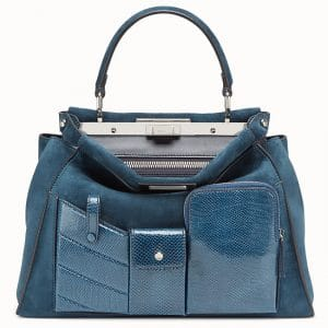 Fendi Blue Suede:Karung Peekaboo Regular Pocket Bag