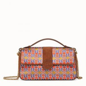 Fendi Blue/Red Grille Royale Print Double F Bag