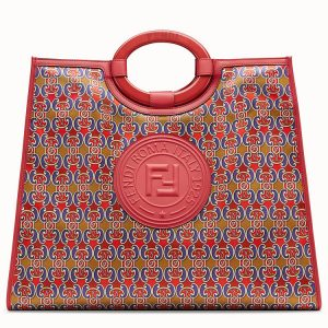 Fendi Blue/Red Grille Royale Print Runaway Shopper Bag