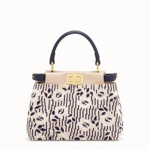 Fendi Blue/White Beaded Peekaboo XS Bag