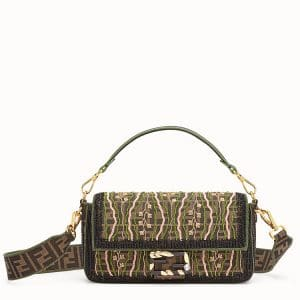 Fendi Brown Embroidered Fabric Baguette Bag
