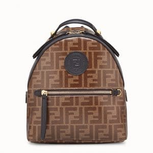 Fendi Brown FF Fabric Mini Backpack Bag