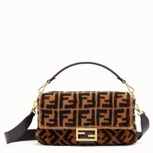 Fendi Brown FF Sheepskin Large Baguette Bag