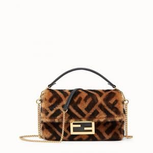 Fendi Brown FF Sheepskin Mini Baguette Bag