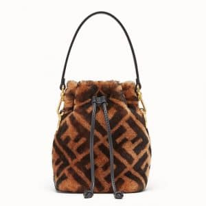 Fendi Brown FF Sheepskin Mon Tresor Bag