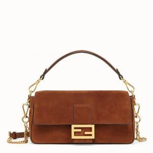Fendi Brown Suede Baguette Bag