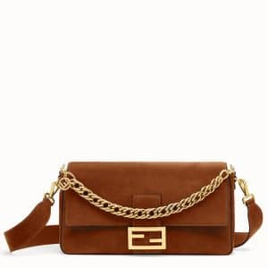 Fendi Brown Suede Large Baguette Bag