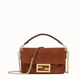 Fendi Brown Suede Mini Baguette Bag