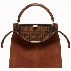 Fendi Brown Suede Peekaboo X-Lite Regular Bag