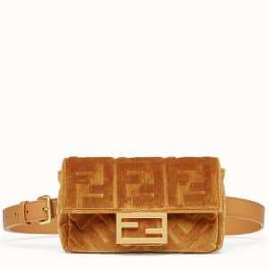 Fendi Caramel Velvet Baguette Belt Bag