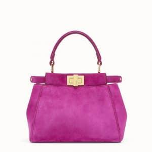 Fendi Fuchsia Pink Suede Peekaboo XS Bag