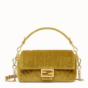 Fendi Green FF Velvet Baguette Bag
