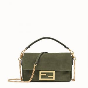 Fendi Green Suede Mini Baguette Bag