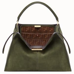 Fendi Green Suede Peekaboo X-Lite Bag