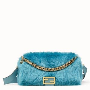 Fendi Light Blue Sheepskin Large Baguette Bag