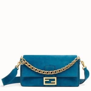 Fendi Light Blue Suede Large Baguette Bag