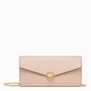 Fendi Light Pink Calfskin Continental F Wallet on Chain Bag